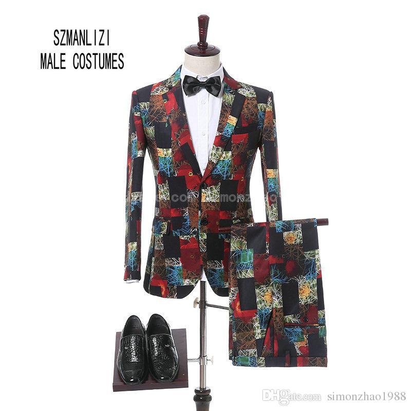 Terno Masculino 2018 Latest Coat Pant Design Formal Wear Groom 2 Button Men Printed Wedding Suits Wedding Tuxedos For Men Slim Fit Groomsmen