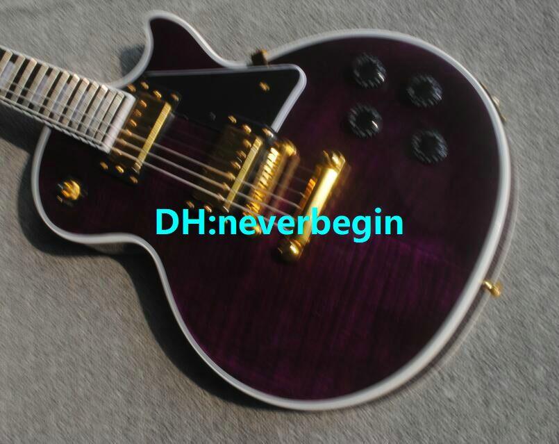 Hardware all'ingrosso della chitarra elettrica di mogano su ordinazione viola di arrivo di nuovo arrivo della chitarra Trasporto libero