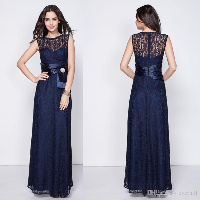 Elegant Long Mermaid Mother Of The Bride Dresses Lace Rhinestone Sash Sleeveless Navy Blue Groom Mother's Dresses Wedding Formal Party Gowns
