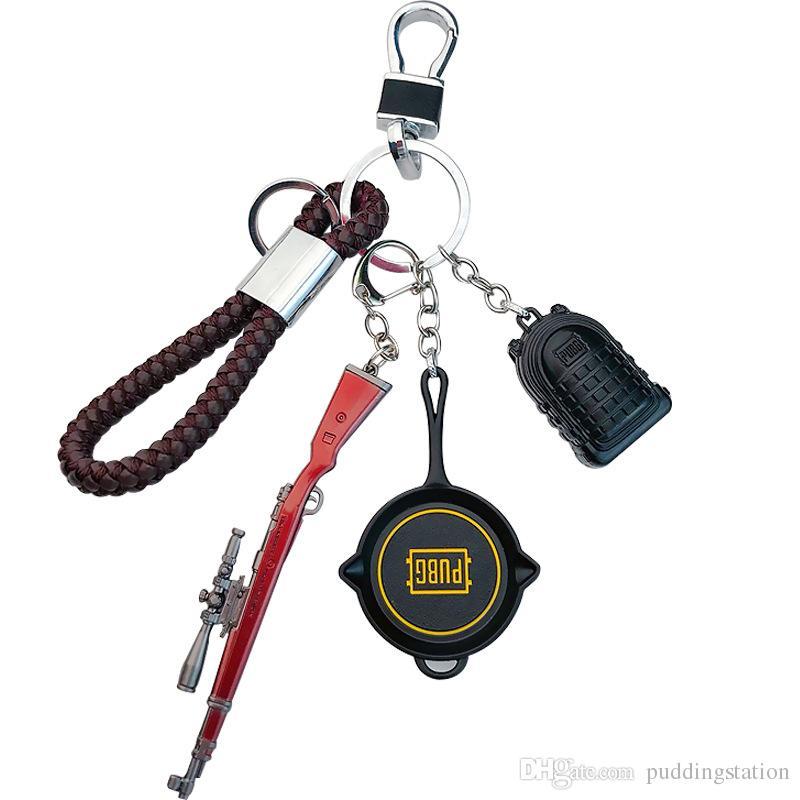 Fashion PUBG Hot Online Games Cross Fire AK47 Gun Mold Keychains Wholesale Cool Metal Weapon Key Chains Men Jewelry Pendants