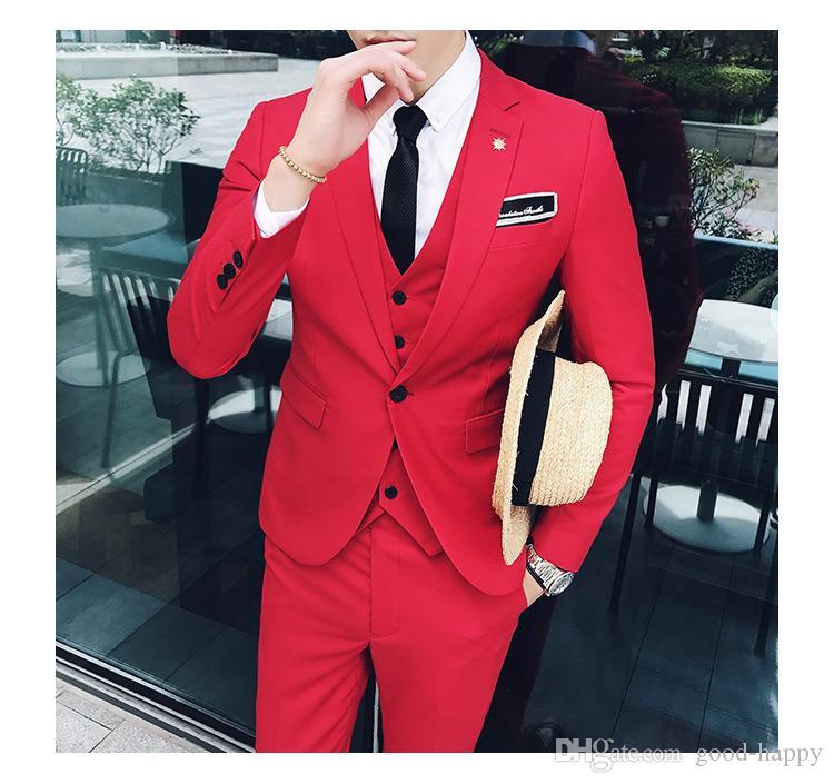 Slim Fit rojo 3 piezas traje hombres boda esmoquin novio trajes de padrinos de boda hombres partido de negocios Prom Blazer (chaqueta + pantalones + Tie + Vest) 1254