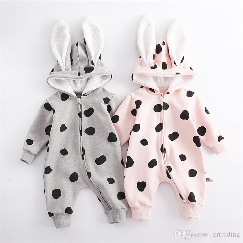 Baby Bunny Era fleece Hooded Romper Cute dots rabbit autumn winter baby warmer outfits 2 colros for 0-1T boys girls Onesie