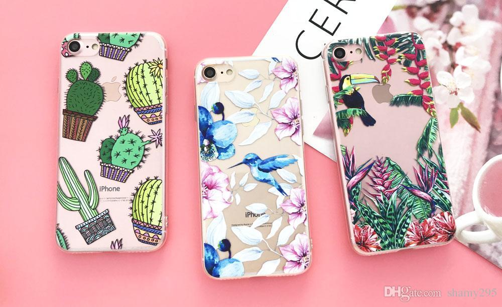 Per iPhone Silicone Case 7 7plus 6 6S 6Plus 5 Caso 5S SE TPU copertura del fiore Foglie Bird per iPhone 6S 8plus X trasporto libero 2018 nuovo caldo