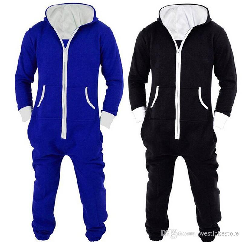 Adultos Unisex Onesies Pijamas Mens Mulheres One Piece Algodão Pijama Pijamas Onesies Sleepsuit Preto / Azul