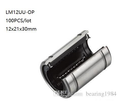 100 adet / grup LM12UU-OP LM12UUOP LM12-OP 12mm açık tip doğrusal sürgülü burç doğrusal hareket rulmanlar 3d yazıcı parçaları cnc router