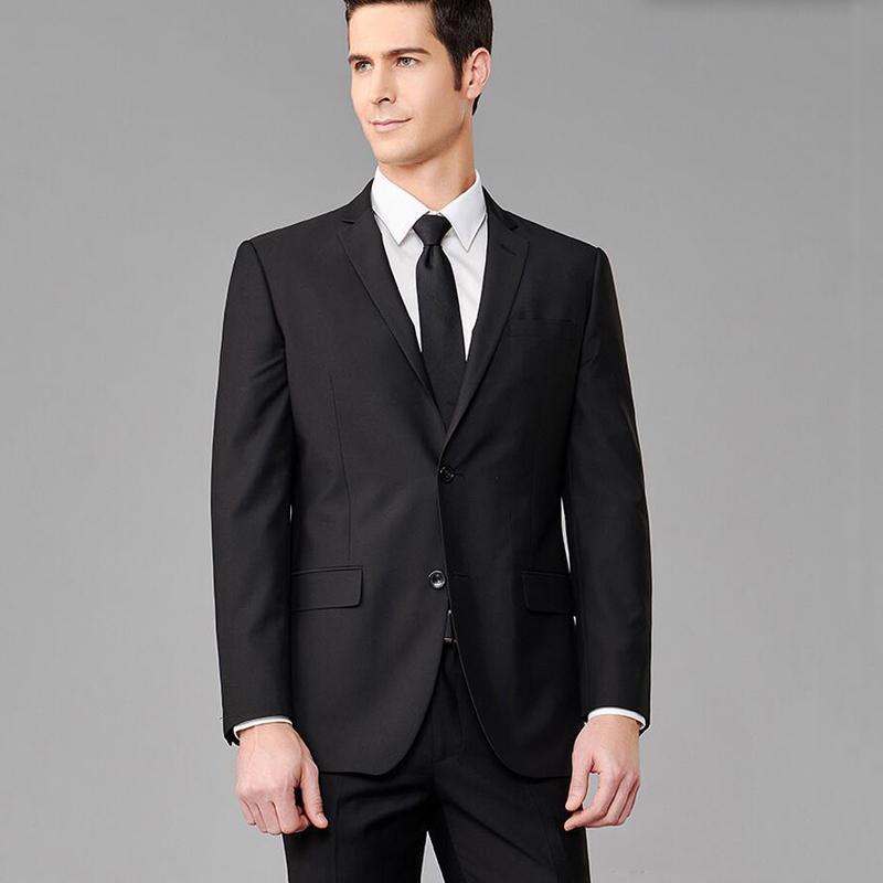 2018 Costumes Hommes Noir formalisées d'affaires sur mesure Slim Fit Costumes de mariage Epoux 2 pièces Groomsmen meilleur homme Blazer smokings marié