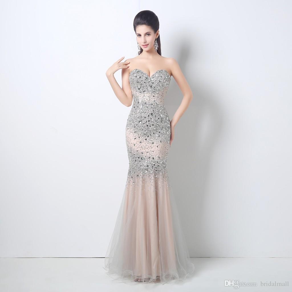 2018 Kristaller Tül Sevgiliye Abiye Rhinestones Gelin Konuk Pageant Elbise Örgün Parti Törenlerinde Fermuar Geri Gelinlik Modelleri Uzun
