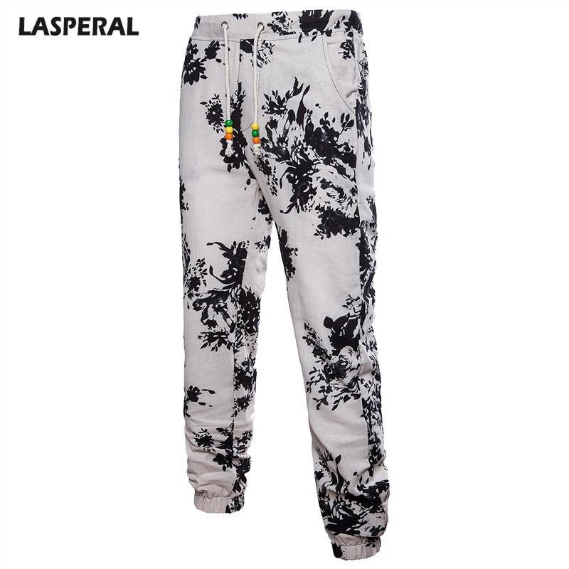 Rahat Erkekler Pantolon Çiçek Baskı Artı Boyutu Keten Joggers Hip Hop Sokak Giyim Marka Erkek Yaz Gevşek Pantolon