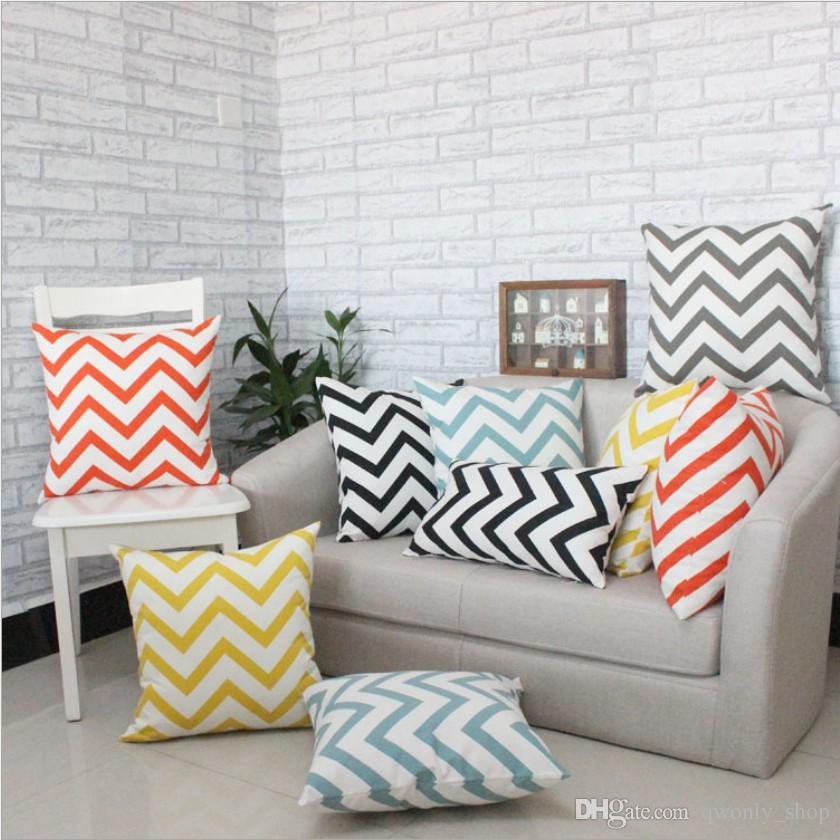 Sofa Cushion Covers Seat Pillow Case Geometric Wavy Print Creative Striped Pillow Cover Home Decoration 4 Size to choose