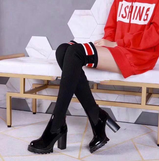 A la venta Botas sobre las rodillas de las mujeres Botas de gamuza hasta el muslo Otoño Invierno Ropa de mujer Piel cálida Tacones negros Botas Zapatos de invierno Mujer