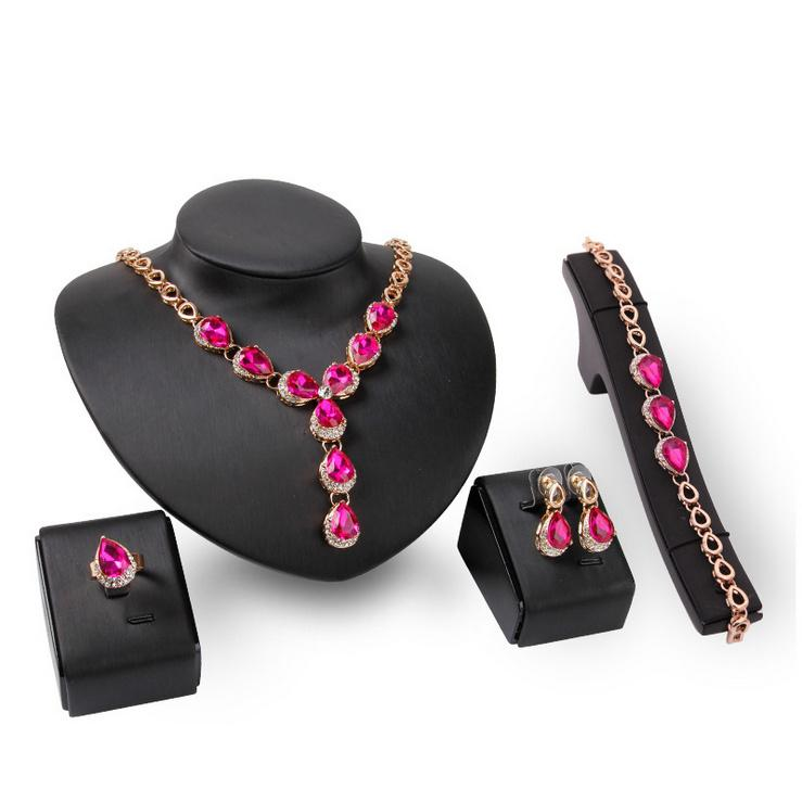 Necklace Earrings Bracelet Ring Party Jewelry Set Fashion Luxury Water Drop Rhinestone 18K Gold Plated Bridal Wedding Jewelry 4-Piece Set