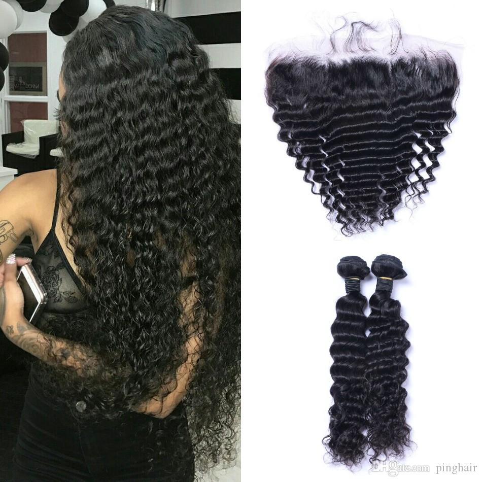 Deep Wave Human Hair 2 Bundles with Frontal Unprocessed Indian Hair 13x4 Ear to Ear Lace Frontal Closure with Bundles