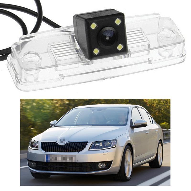 Nuevo 4 LED Cámara de visión trasera para automóvil CCD de respaldo inverso apto para Skoda Octavia Sedan 2013-2016 14