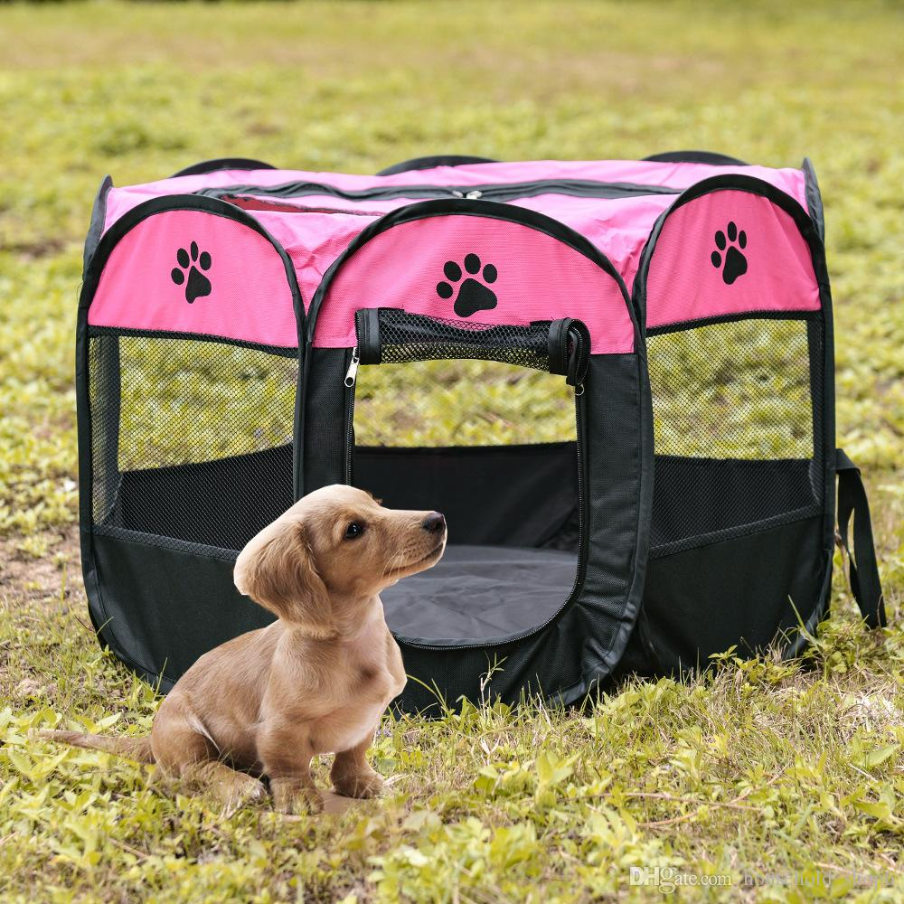 Size S Pet Portable Foldable Playpen Exercise Kennel Dogs Cats Removable Mesh Shade Cover Indoor Outdoor