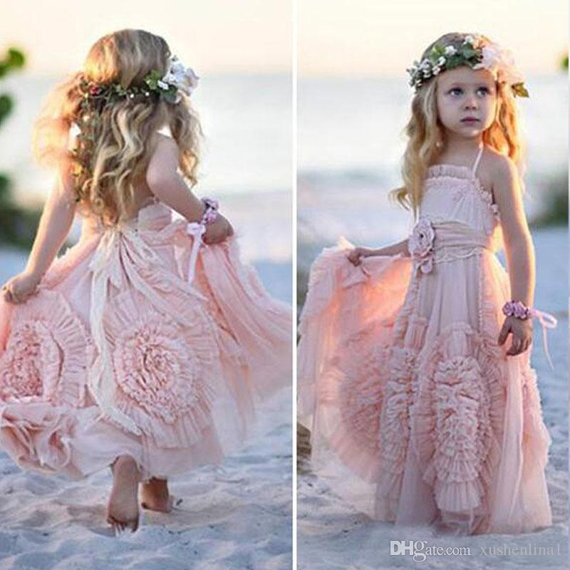 Gorgeous Pink Strapless Flower Girls Dresses 2018 Sleeveless Floor Lemgth Tulle Girls Pageant Dresses Back Strap