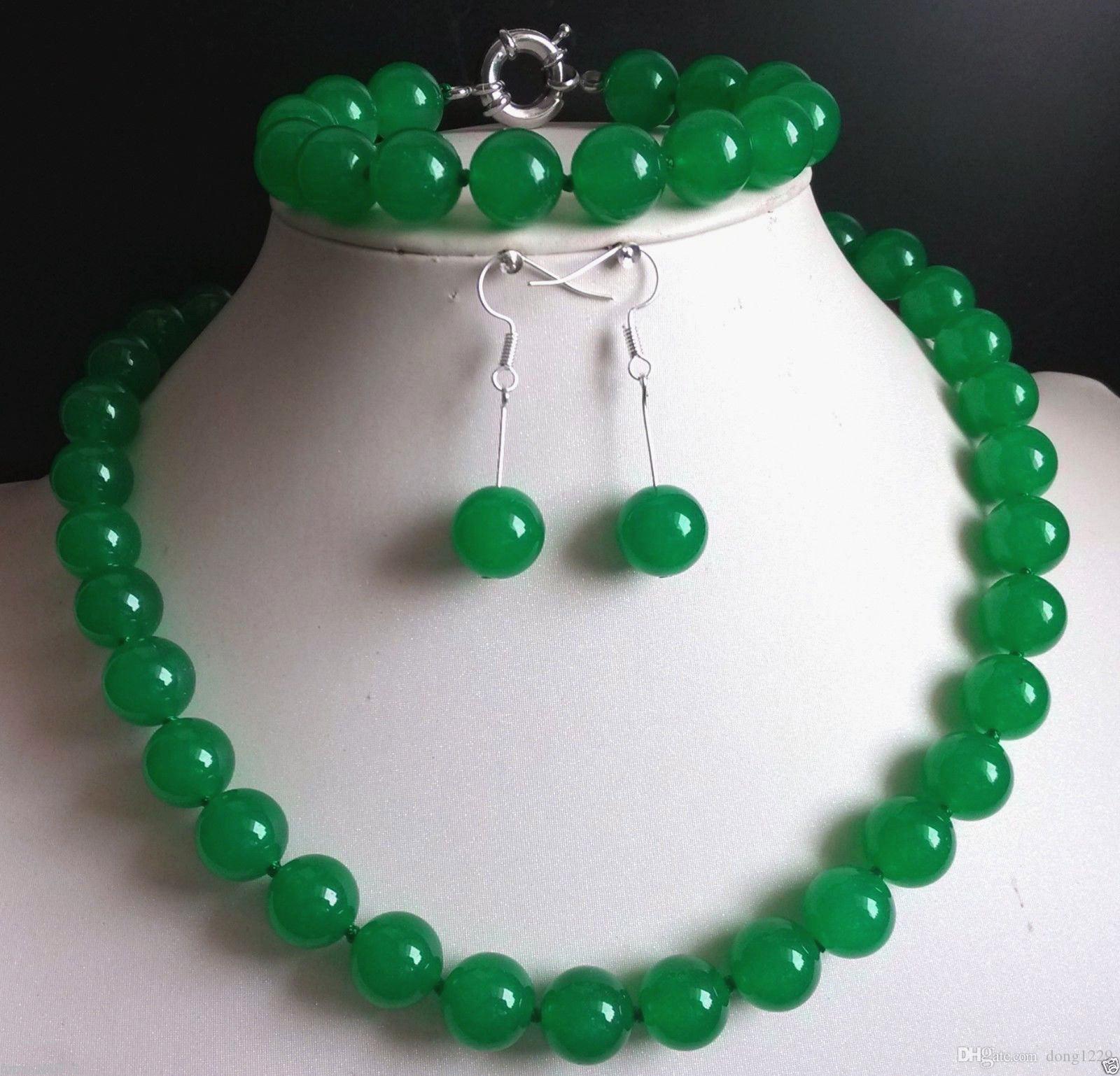 12 мм зеленый нефрит драгоценный камень круглый бисер ожерелье + браслет + серьги набор