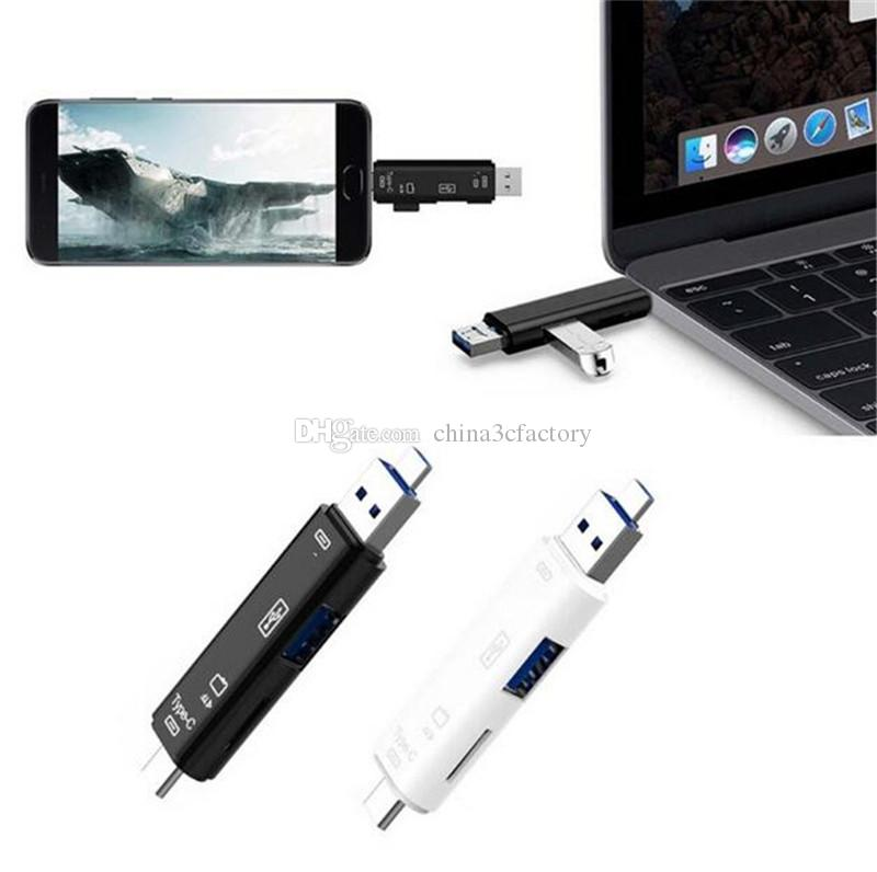 All in One Card Reader USB 3.1 Type-C To Micro USB 2.0 TF For SD Card Reader Adapter For Tablet Laptops