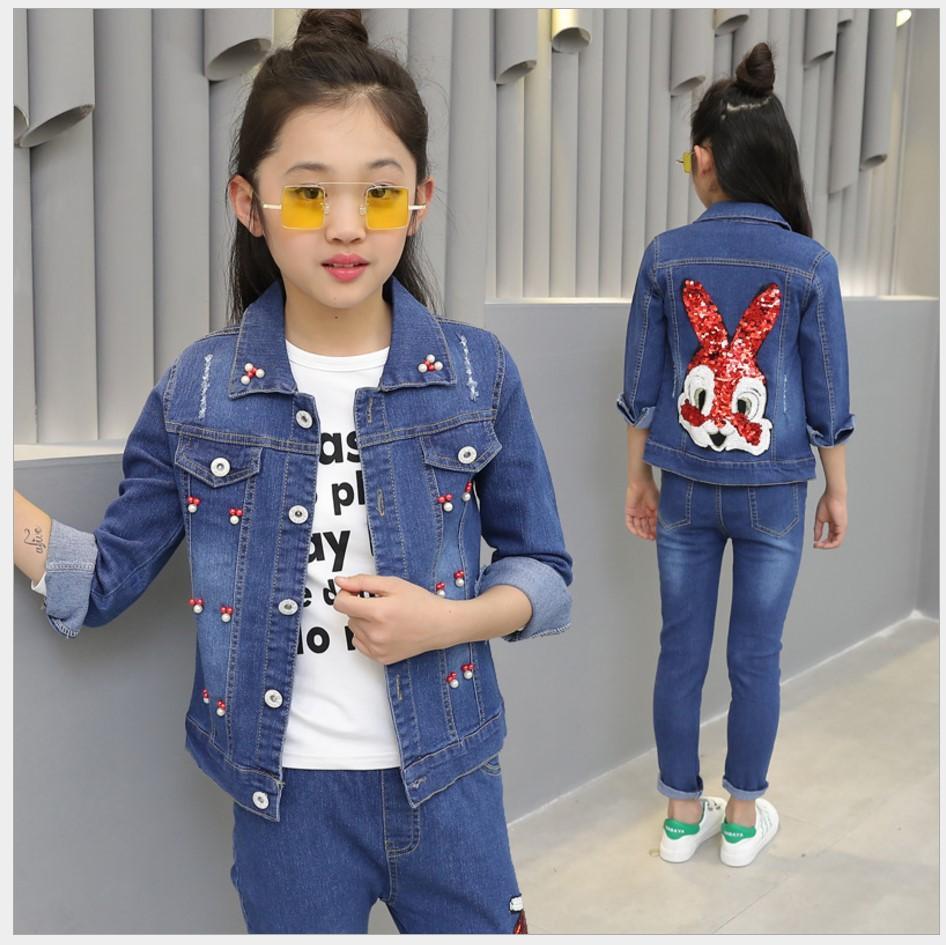 2017 conjuntos de roupas de outono meninas coelho casacos para meninas duas peças ternos denim jaqueta adolescente menina de manga comprida set meninas florais