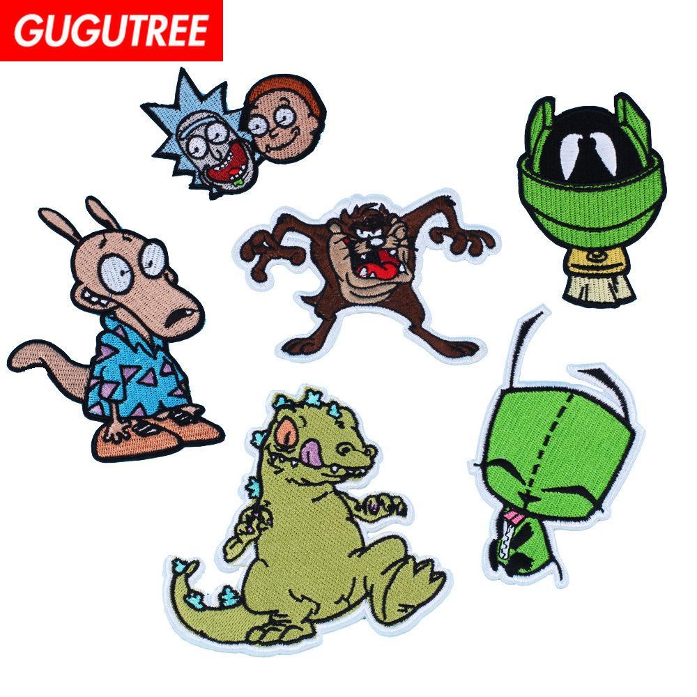 GUGUTREE un ensemble 6 pièce patchs de dinosaure broderie patchs de monstre badges patchs appliqués pour vêtements