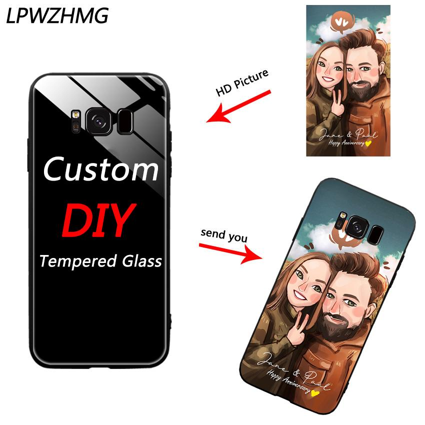 wholesale Custom DIY Print Photo Logo Tempered Glass Phone Case For Samsung S8 Pus S7edge S9 Note 8 9 A6Plus Customized Back Cover