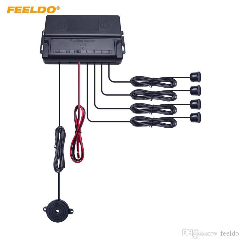 FEELDO Auto Car 4 Capteurs Capteur De Stationnement Auto Reverse Reverse Backup Bip Alarme Radar Haut Parleur Capteur De Stationnement # 896