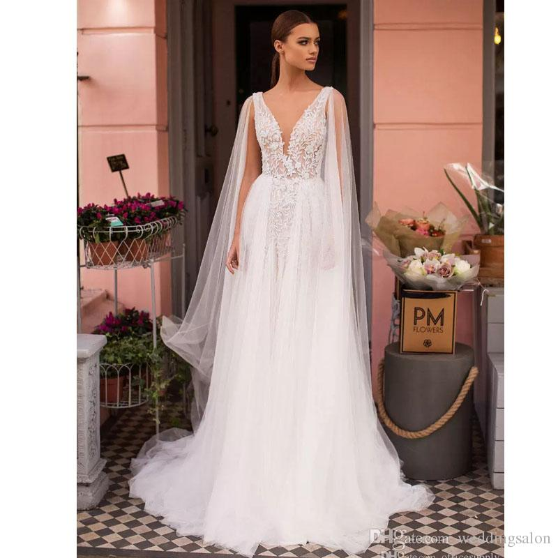 세련된 보헤미안 비치 웨딩 드레스 케이프 브라 가운과 깊은 V - 목 레이스 Appiques 티어드 치마 Tulle 웨딩 착용