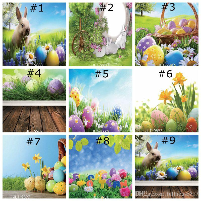DaShan 14x10ft Spring Easter Backdrop Spring Happy Easter Eggs Photography Background Grass Flower Basket Butterfly Children Baby Easter Party Decor Portrait Photo Studio Props