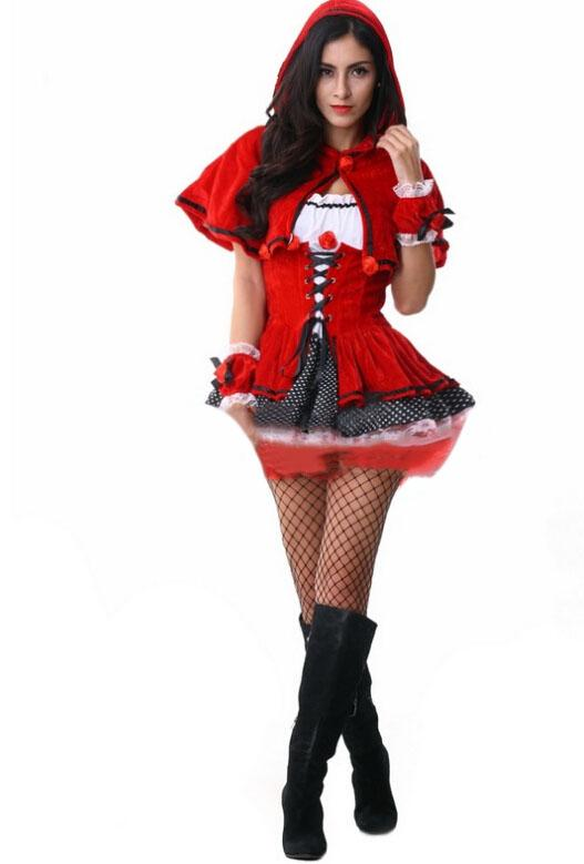 2015 Party Costume Little Red Riding Hood Clothing Halloween Sexy Women Costume Vetement Femme Ruffles Dress For Female CC145