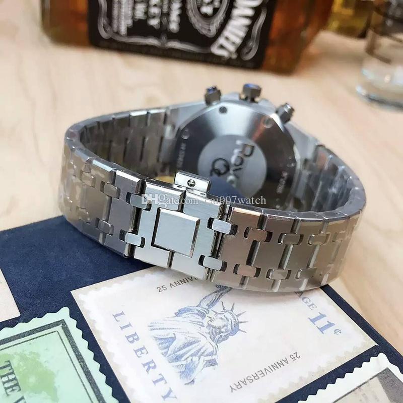 Reloj 2018 moda multifuncional para hombre. Importado Sincronización Movimiento de cuarzo 316 Caja de acero inoxidable Cristal mineral Diámetro del espejo 42 mm