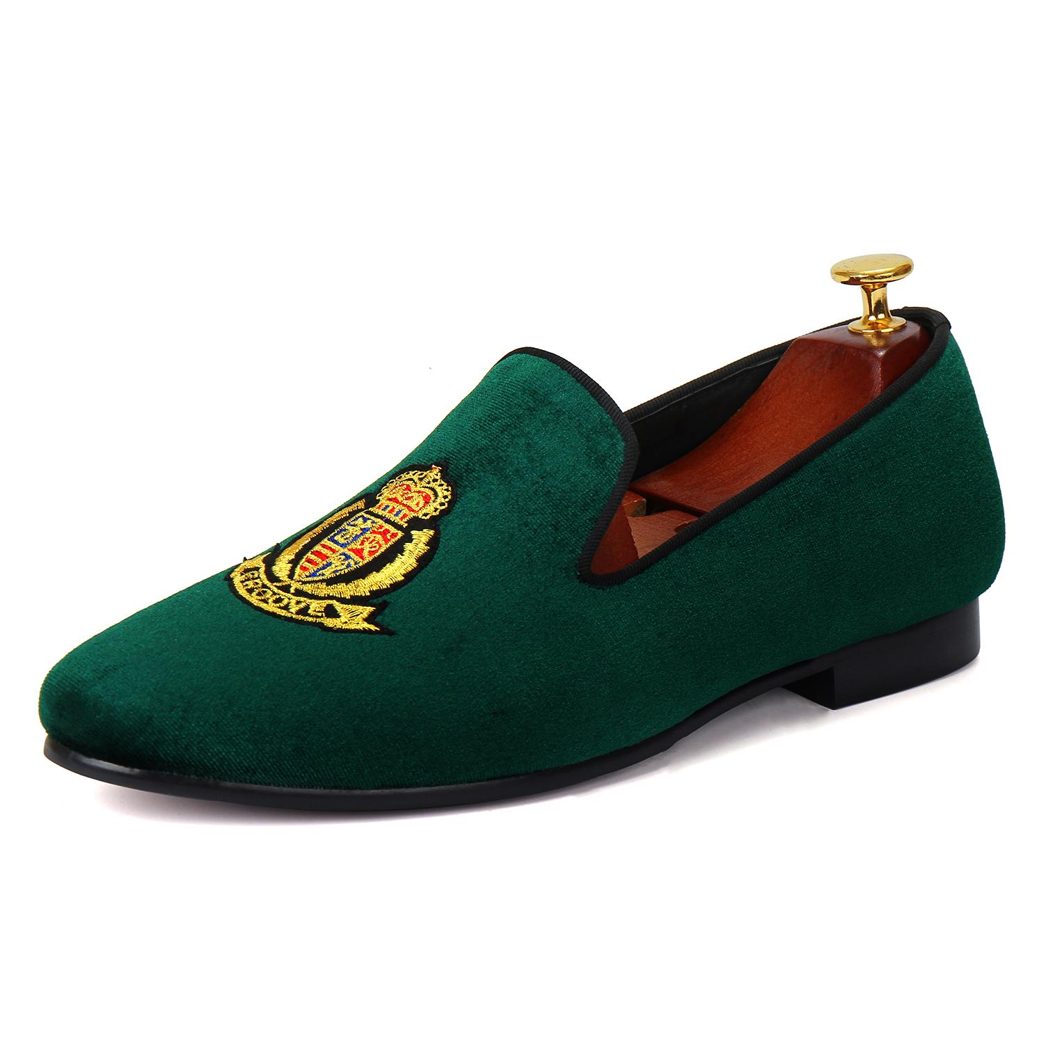 Harpelunde Halloween Gift Green Velvet Dress Shoes For Men Round Toe Leather Lining Free Shipping US Size 7-14
