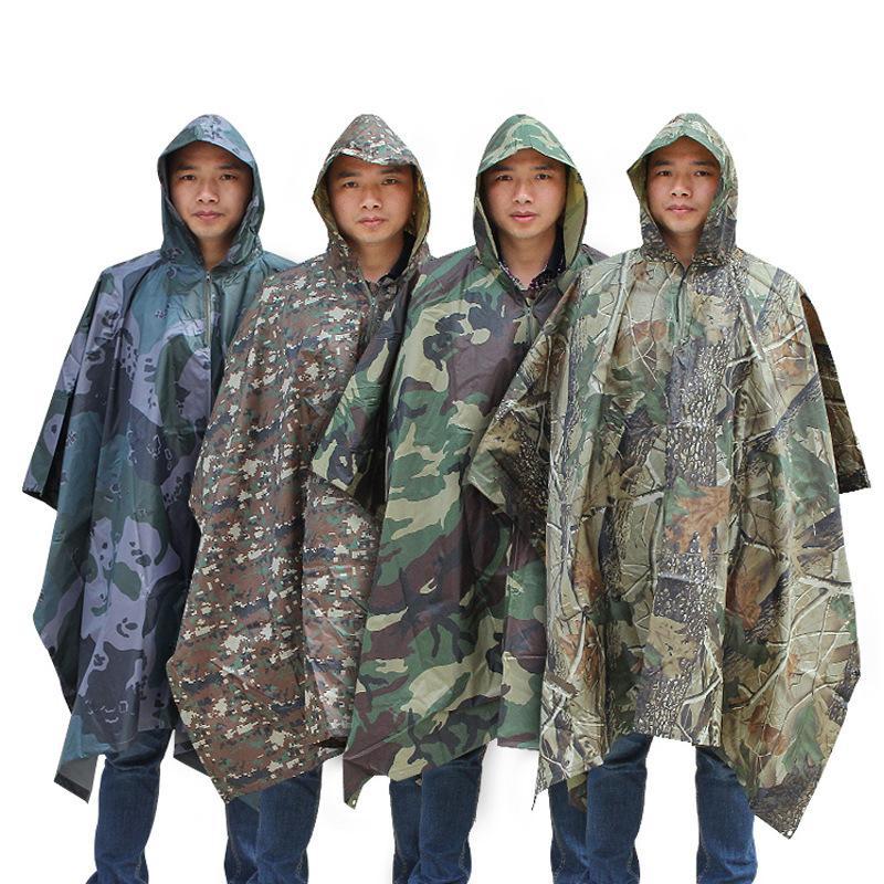 3 em 1 manto capa de chuva camuflagem multi-função ao ar livre adulto selva caixa chuva capa trekking atacado fábrica