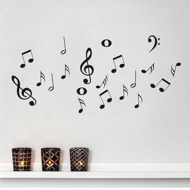 Compre Símbolos De Música Diy Etiqueta De La Pared Extraíble Para La Sala De Vinilo Dormitorio Decoracion Poster Wallpapers Ventana Decoración Mural A