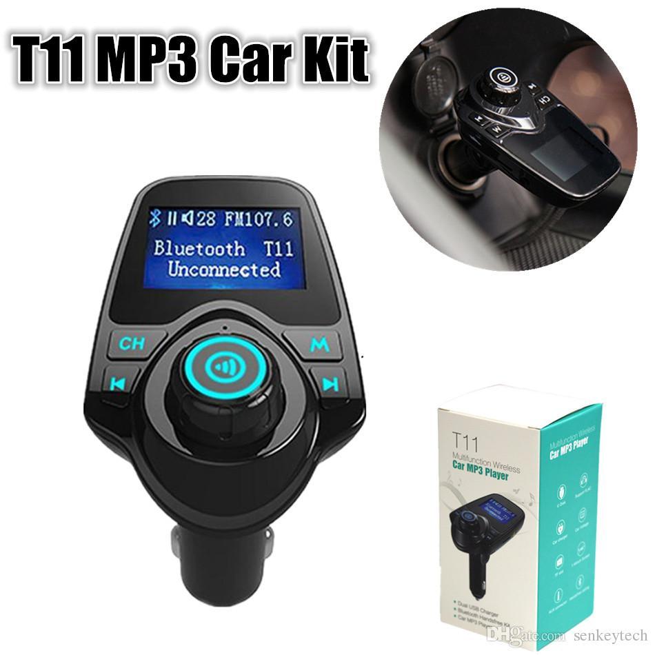 Bluetooth T11 MP3 Car Kit المزدوج منافذ USB دعم وزير الخارجية الارسال TF بطاقة يو القرص لاعب حر اليدين سيارة كيت مشغل موسيقى سيارة مركبة