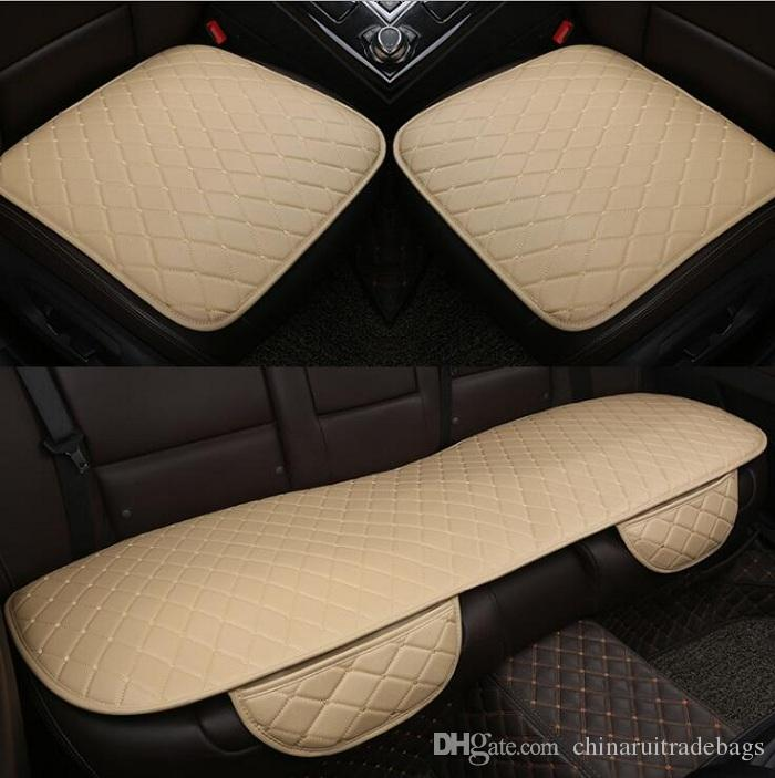 NEW Car front/back Seat Covers Universal Fit SUV sedans Chair Pad Cushion mat antiskid PU leather check design