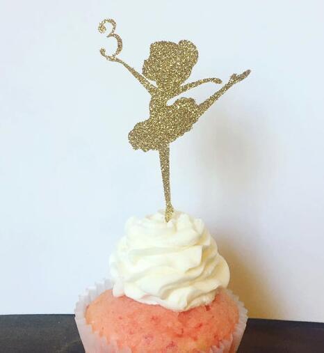 Großhandel Benutzerdefinierte Anzahl Glier Ballerina Mädchen Geburtstag Cupcake Topper Taufe Taufe Party Dekoration Donut Picks Von Instrumenthome