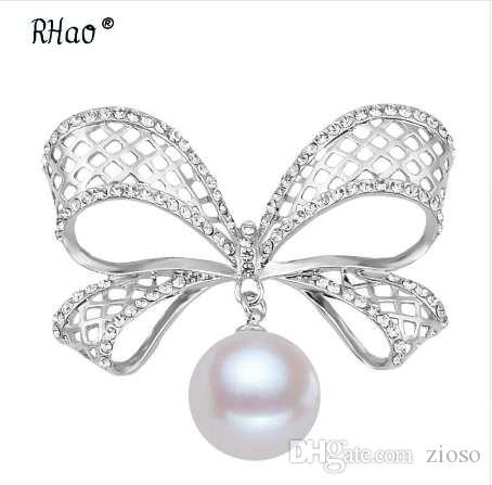 RHao Hollow arco perla rhinestone broche, boda perla ramillete para las mujeres, broche de cristal de moda