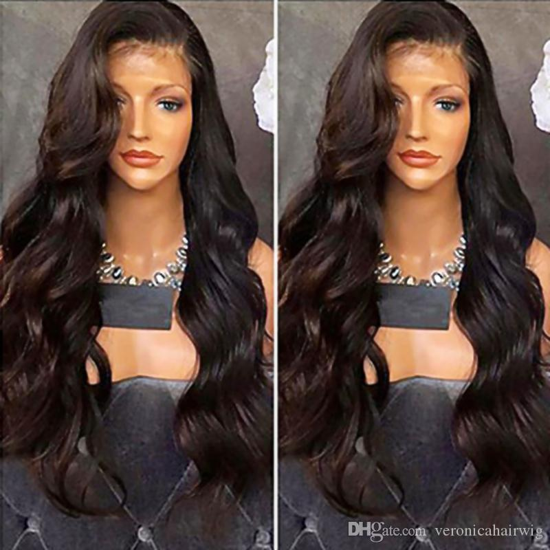 Beautiful Side Parting Natural Black Long Body Wave Wigs with Baby Hair Heat Resistant Gluelese Synthetic Lace Front Wigs for Black Women