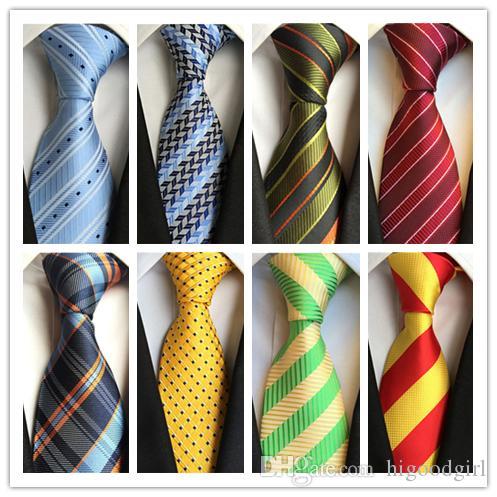 2018 TIE Hot Fashion Cravatta Mens Classic Cravatte formale da sposa Affari Blue Green Giallo Stripe Cravatta Per uomo Accessori cravatta Sposo Cravatte