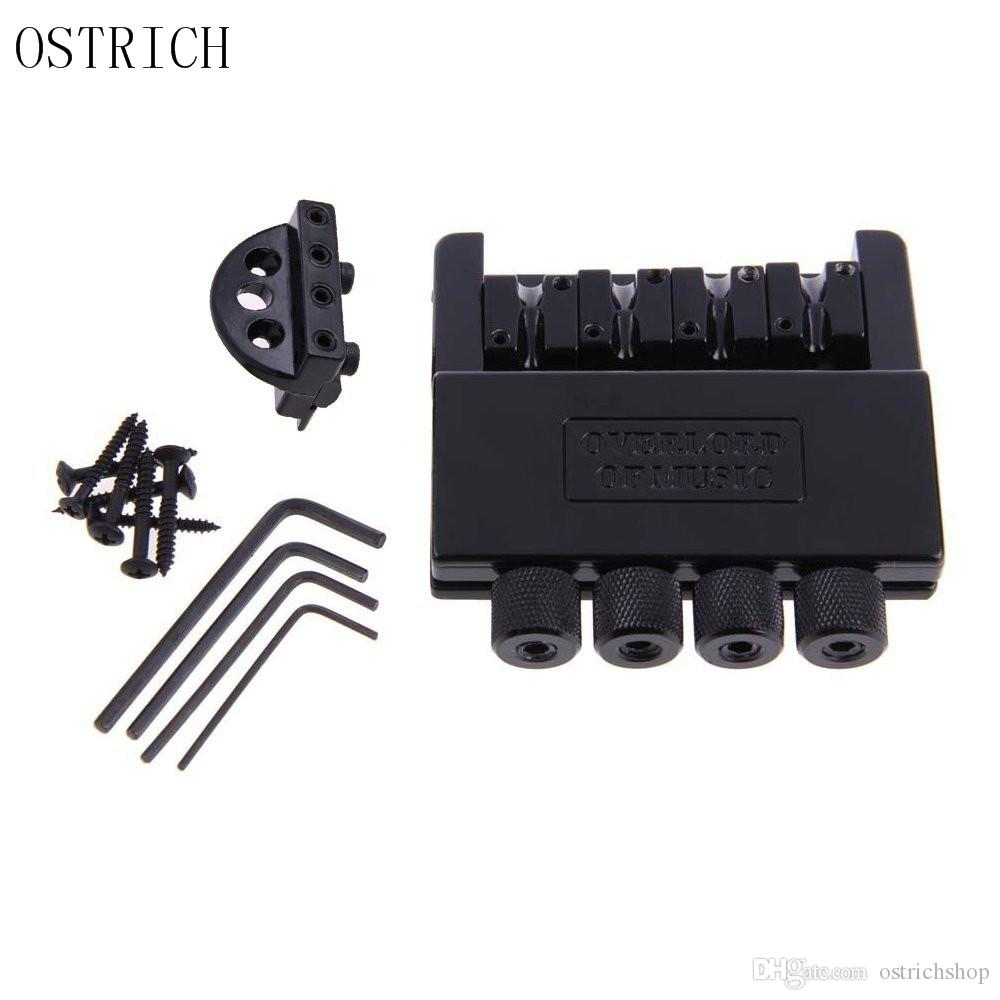 Ostrich Black Headless Chitarra elettrica a 4 corde Bass Tremolo Bridge System per chitarra senza testa