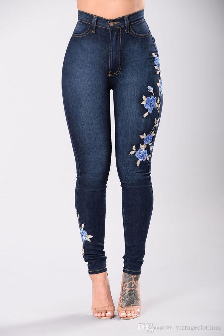 2018 Nova Moda Denim Floral Bordado Cintura Skinny Jeans Mulher Slim Jeans Pant Plus Size S-3XL