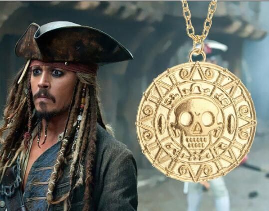 Vintage Bronze Gold Pirate Charms Aztec Coin Necklace Men's Movie Pendant Necklaces for Lady Xmas Gift Fashion Jewelry