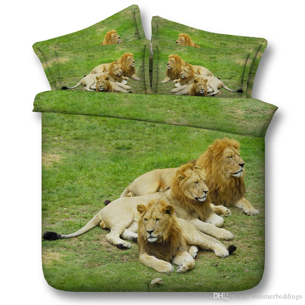 3D green lions bedding sets duvet cover grass bedspreads comforter cover Bed Linen Quilt Covers animal bed cover for boys adults