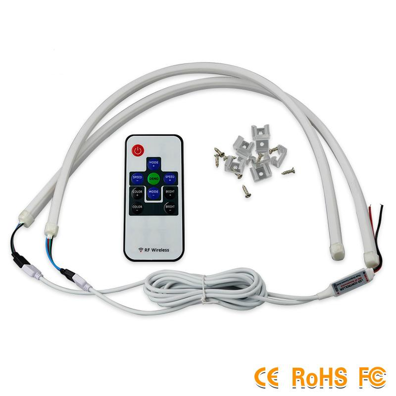 2 개 60 센치 메터 RGB DRL 유연한 LED 튜브 스트립 스타일 주간 실행 조명 눈물 스트립 자동차 헤드 라이트 신호등 주차 램프