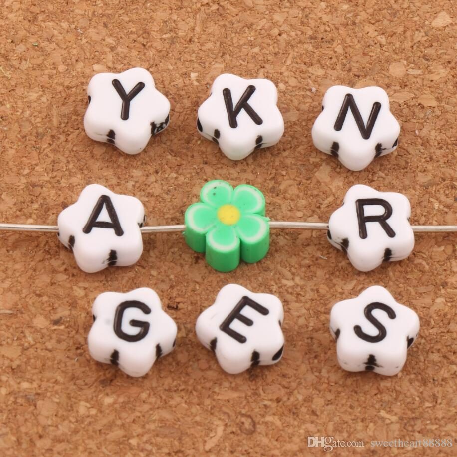 "1000pcs/lot 9mm White Alphabet Letter ""A-z"" Flower Spacer Beads Acrylic Bead Jewelry DIY L3119 Loose Beads"