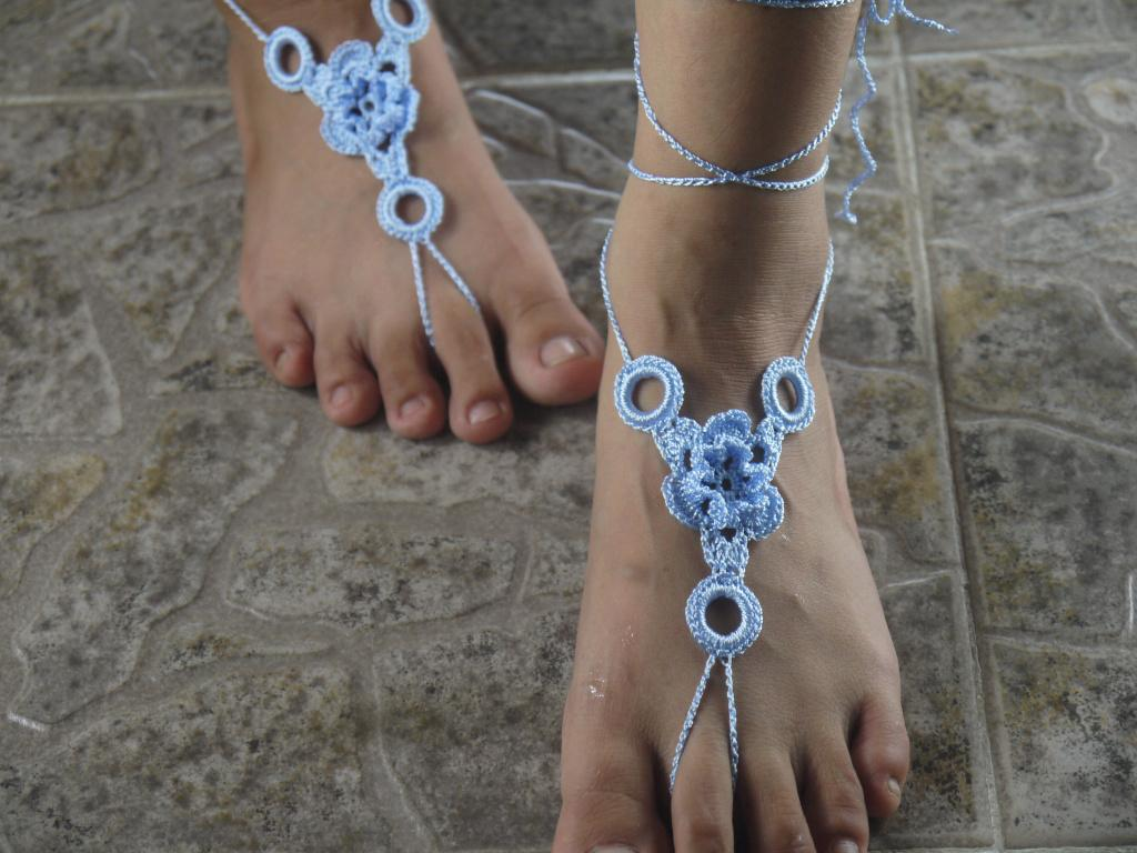 Women Sexy White Shoes,Crocheted Barefoot Sandals Wedding Shoes -Ring- Nude Shoes..
