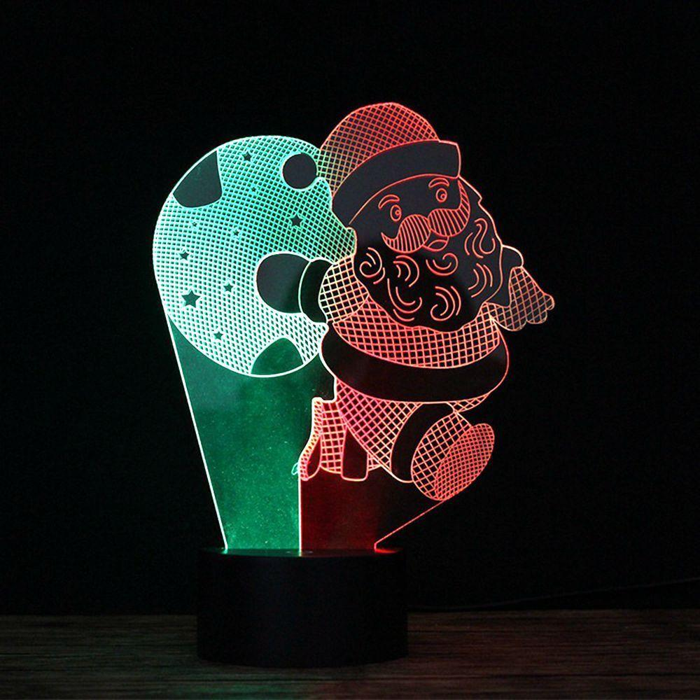 3D LED Licht Weihnachten Santa Old Man Lampe Illusion Nacht 7 Farbe Geschenk # R42