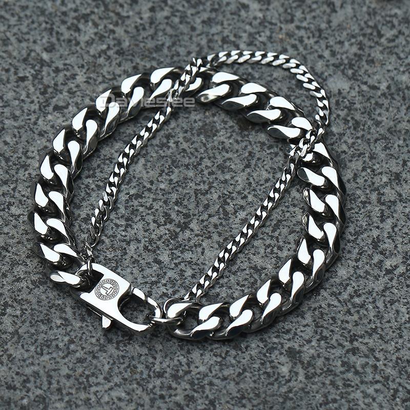 Bracelet mâle Davieslee pour hommes Curban Boîte Cuban Box Chaîne de lien de lien Double Couche Acier inoxydable Bracelet pour hommes Bijoux cadeau DDBM01