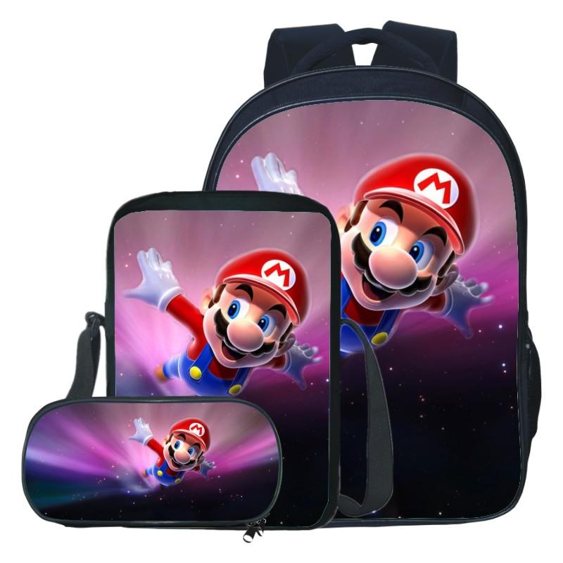 New Style Suit Oxford Printing Super Mario Kids School Backpack for Teenagers Boys Cartoon Children School Bags Girls Bookbag