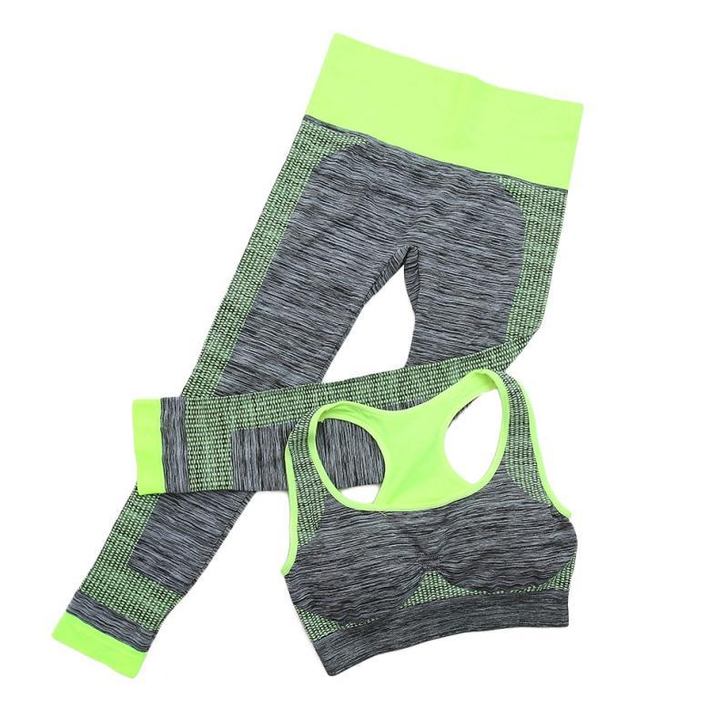 Women Yoga Sets Fitness Seamless Bra+Pants Leggings Set Workout Gym Sports Wear Suits