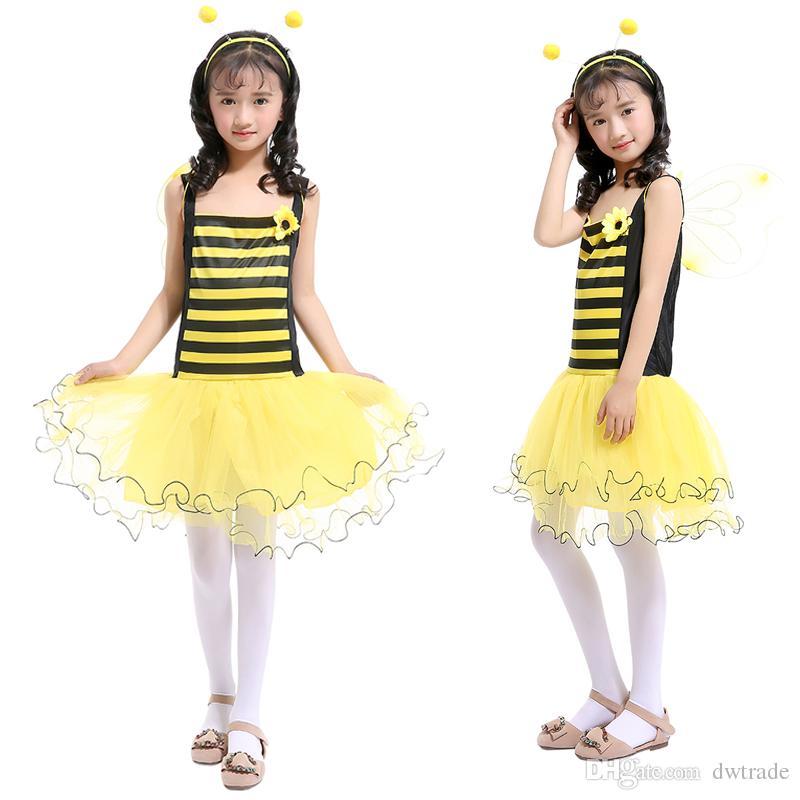 Le ragazze Little Bee Siling Dress giallo Tutu patchwork giallo con ala gialla + fascia principessa abito abiti per bambini Cosplay abbigliamento